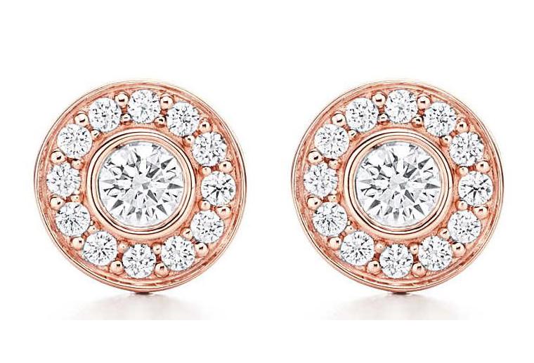 18k金钻石耳钉女士玫瑰金镶钻耳环加工定制MISSG高档珠宝生产厂家批发