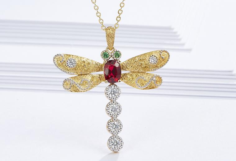 18K金蜻蜓项链镶宝石镶钻石AU750吊坠广州MISSG幂嗣姬珠宝生产厂家加工定制来图来样