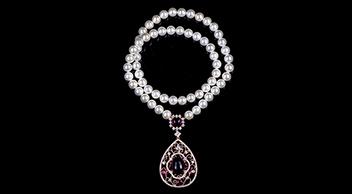 925纯银天然淡水珍珠项链 古典风吊坠