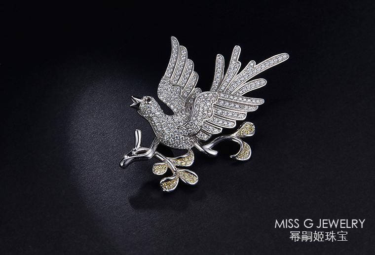 S925银镶锆石胸针