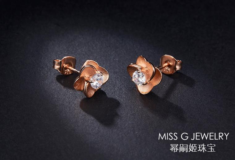 S925银饰镶嵌耳环
