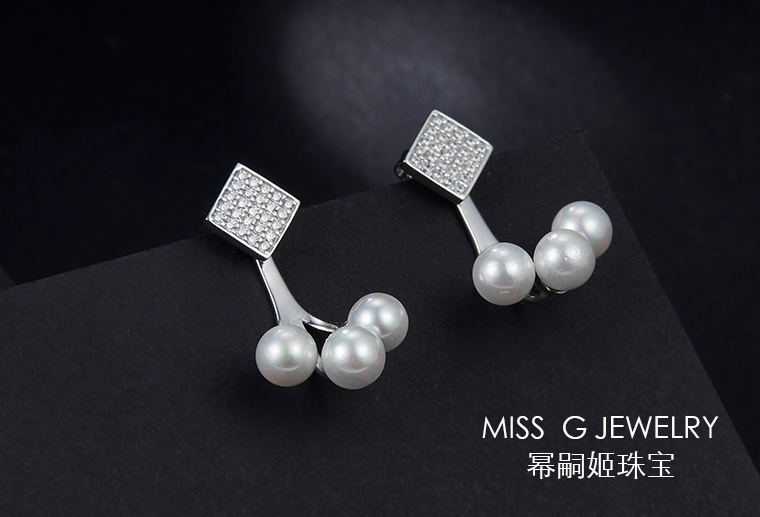 S925银镶嵌珍珠锆石耳环