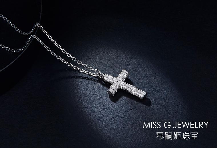 简约十字架镶嵌锆石925银饰定制