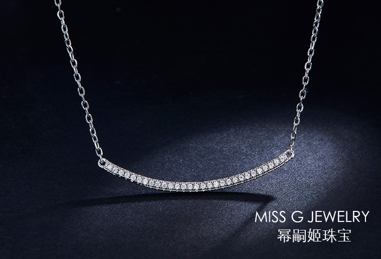 一字弧形925银饰吊坠定制
