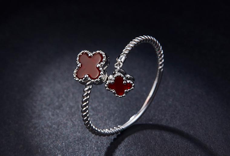 S925银时尚开口戒指 幸运四叶草送女友情人节礼物 首饰加工厂家