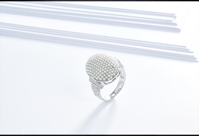 欧美满珍珠纯银戒指S925银戒子首饰厂家加工定制女士复古银饰