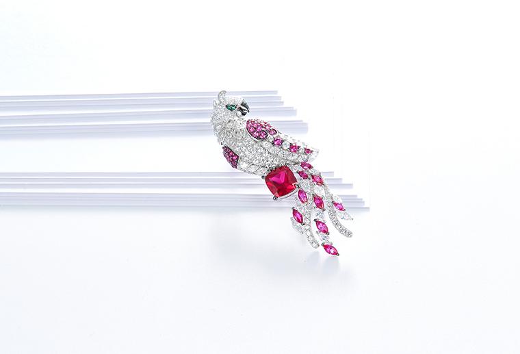 原创纯银胸针s925银鹦鹉胸花镶钻锆石动物别针礼服配饰银饰品批发