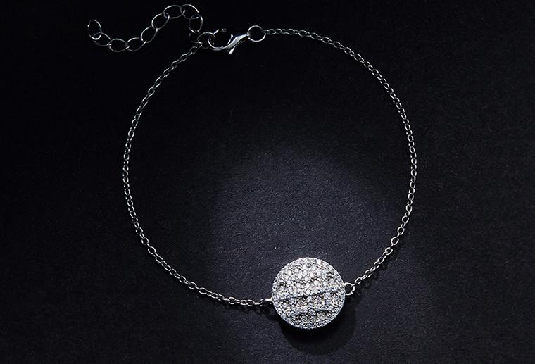 2019新款女式手链S925纯银饰品来图来样定制批发圆形片式实体手链