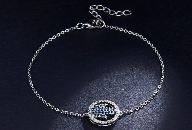 925银情侣手链加工定制镶锆石手掌女式手饰纯银首饰定做 广州MISSG珠宝