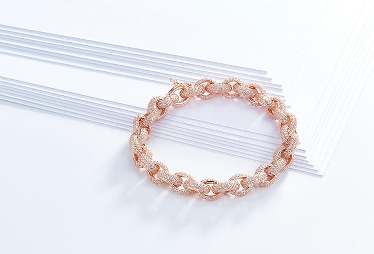欧美潮款银色、玫瑰金色手链 戒指胸针耳环手镯吊坠项链个性定制MISSG高档珠宝生产厂家来图来样加工
