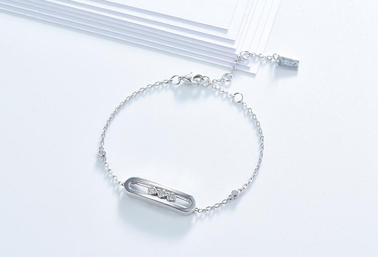S925纯银可调节大小时尚手链女款手饰广州MISSG珠宝银饰厂家加工定制