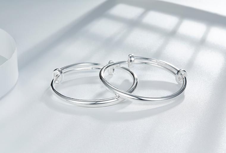 S999纯银可控制大小手镯 广州MISSG珠宝厂家批时尚银饰定制代加工