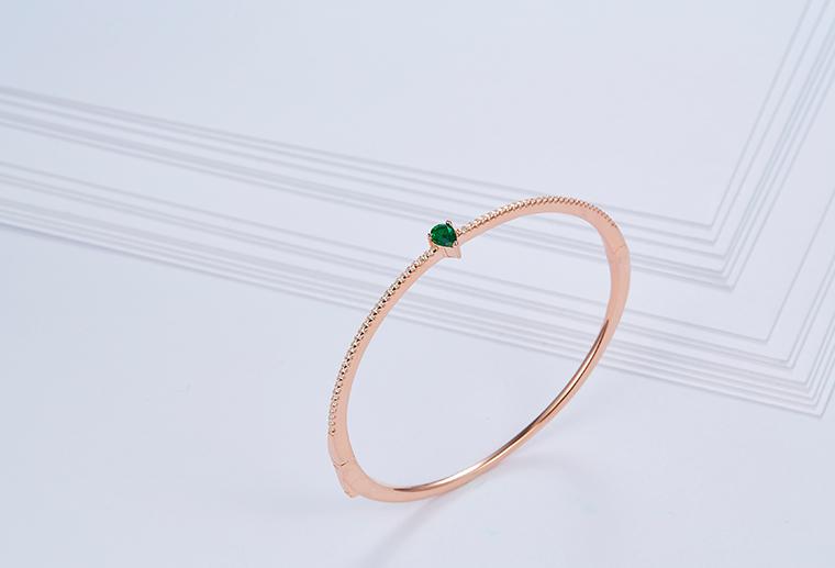 S925纯银玫瑰金色绿宝石手镯  广州MISSG珠宝加工定制来图来样免费设计首饰