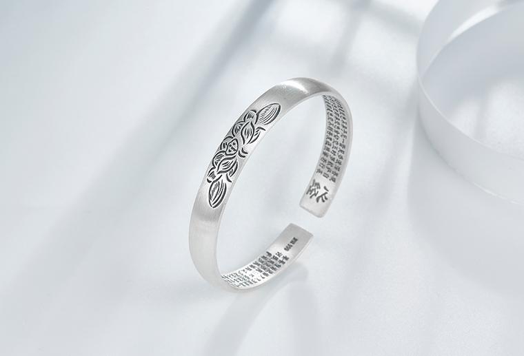 S999佛系心经字印雕刻花手镯 广州MISSG珠宝厂家批925纯银戒指欧美时尚银饰定制代加工