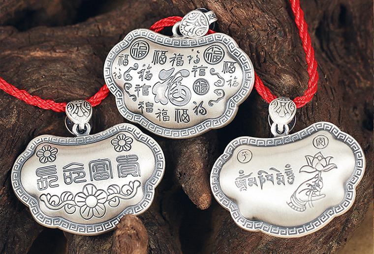 S999吊牌刻字长命锁 广州MISSG珠宝厂家批925纯银戒指欧美时尚银饰定制代加工