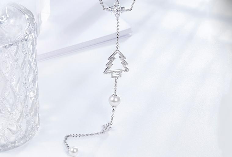 S925纯银圣诞树镶石珍珠项链 广州MISSG珠宝厂家批发 戒指耳环项链吊坠胸针手镯手链礼品时尚银饰定制代加工