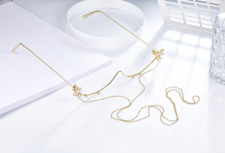 S925纯银黄金色眼镜眼眶 广州MISSG珠宝厂家批发 戒指耳环项链吊坠胸针手镯手链礼品时尚银饰定制代加工
