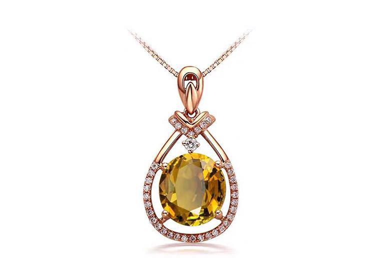 欧美时尚银饰925纯银镶坦桑石吊坠 广州MISSG珠宝首饰厂家批发 来图来样定制代加工