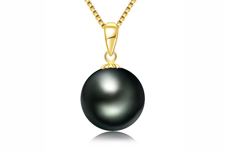 潮款925银玫瑰金色黑珍珠吊坠 广州MISSG高档珠宝首饰公司加工定制银饰品