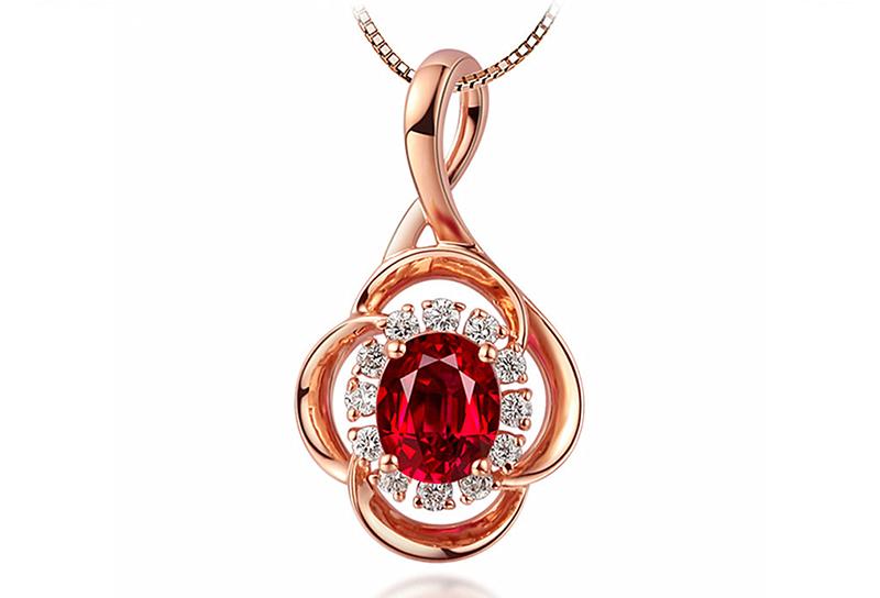 925纯银红宝石吊坠银饰项链 广州MISSG珠宝首饰厂家批发 来图来样定制代加工