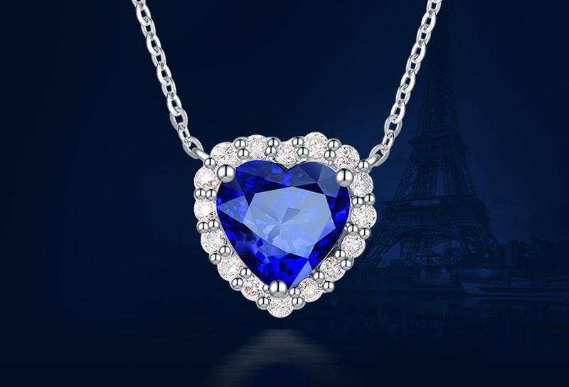 925纯银心形蓝宝石吊坠银饰项链 广州MISSG珠宝首饰厂家批发 来图来样定制代加工