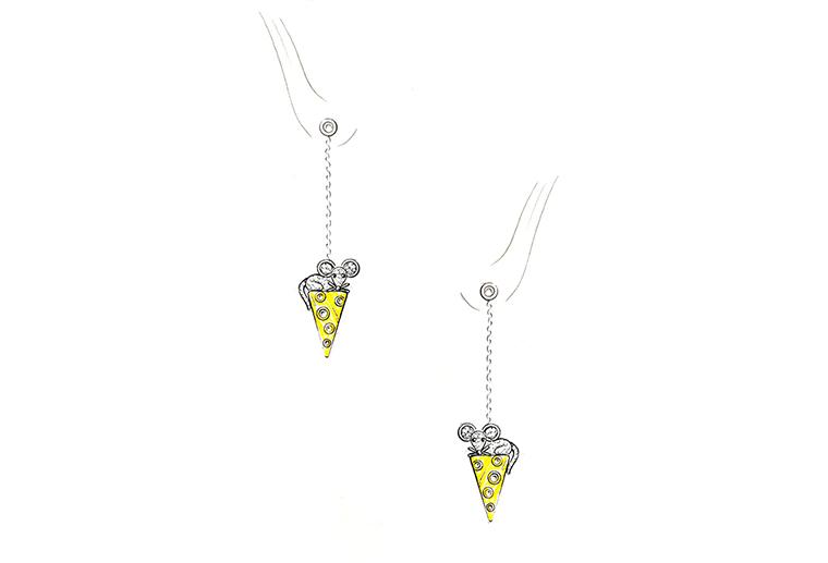 MISSG珠宝原创设计手绘老鼠爱蛋糕作品925银饰品耳线耳环加工定制首饰厂