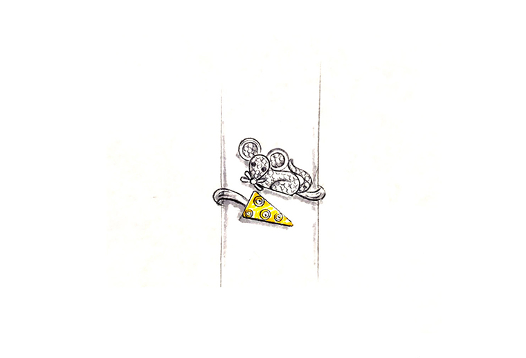 MISSG珠宝原创设计手绘老鼠爱蛋糕作品925银饰品戒指加工定制首饰厂