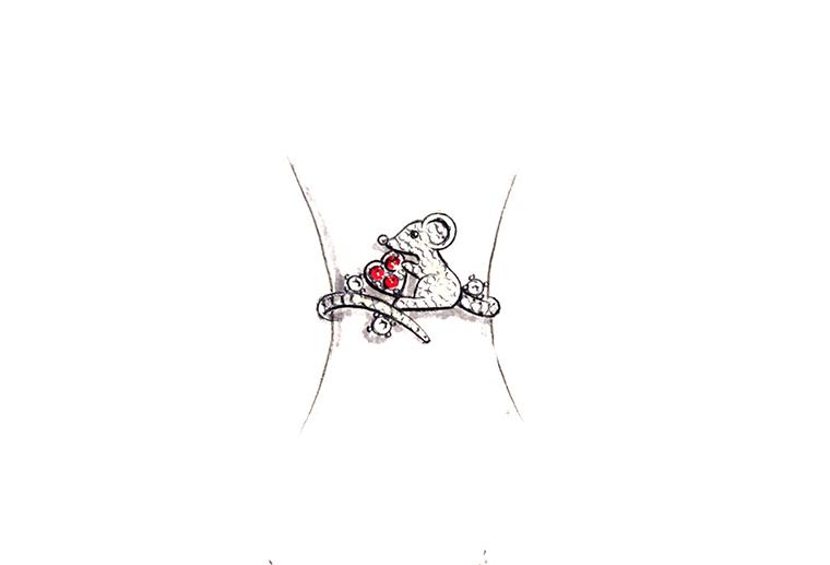 MISSG珠宝原创设计手绘爱心老鼠作品S925银饰品手镯加工定制首饰厂