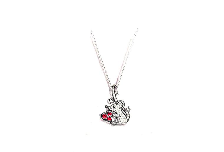 MISSG珠宝原创设计手绘爱心老鼠作品925银饰品吊坠项链加工定制首饰厂
