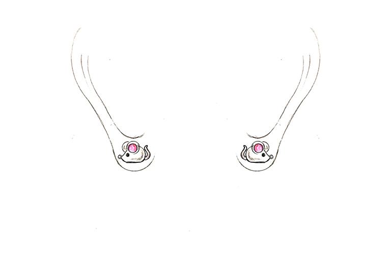 MISSG珠宝原创设计手绘可爱小老鼠作品925银饰品耳钉耳环加工定制首饰厂