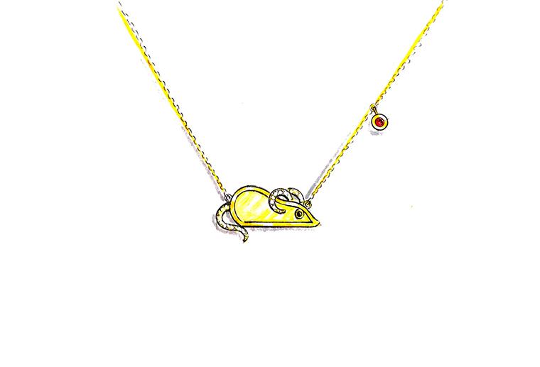 MISSG珠宝原创设计手绘可爱小老鼠作品S925银饰品项链加工定制首饰厂