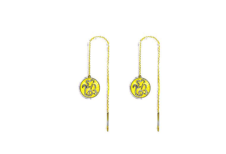 MISSG珠宝原创设计手绘可爱小老鼠作品925银饰品耳线耳环加工定制首饰厂