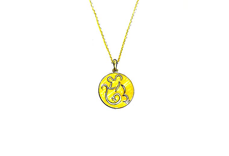 原创设计手绘可爱小老鼠作品925银饰品吊坠项链加工定制MISSG珠宝首饰厂