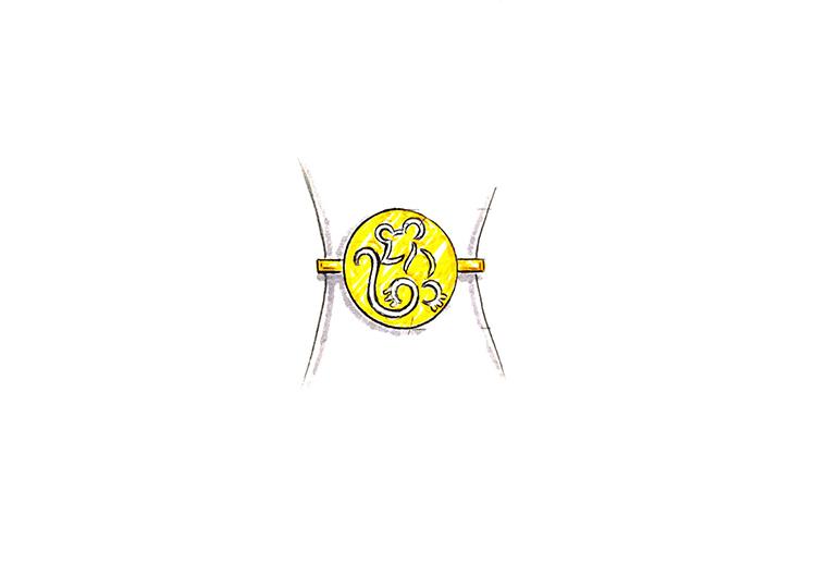 MISSG珠宝原创设计手绘作品可爱小老鼠925银饰品手环手镯加工定制首饰