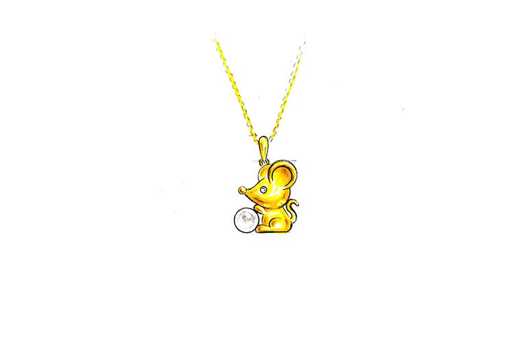 MISSG珠宝原创设计手绘作品可爱小老鼠925银饰品吊坠项链加工定制首饰厂