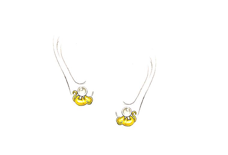 MISSG珠宝原创设计手绘作品可爱小老鼠S925银饰品耳钉耳环加工定制首饰厂