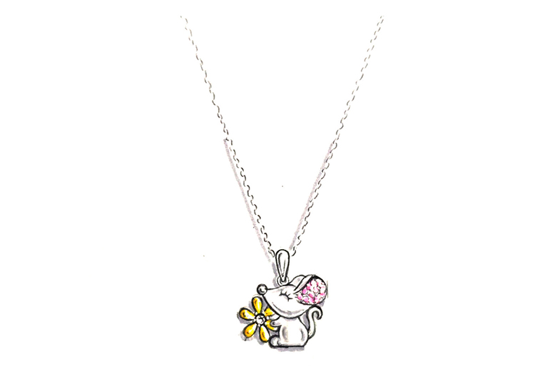 原创设计手绘作品可爱小老鼠925银饰品吊坠项链加工定制MISSG珠宝首饰厂