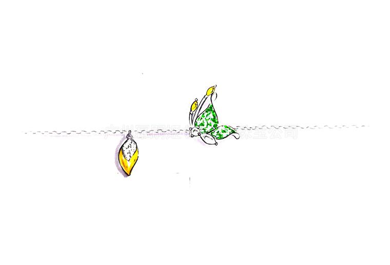 MISSG珠宝原创设计手绘稿作品花园系列蝴蝶手链S925银饰品加工定制首饰厂 项链 戒指 手镯 吊坠 胸针 耳环 工艺礼品