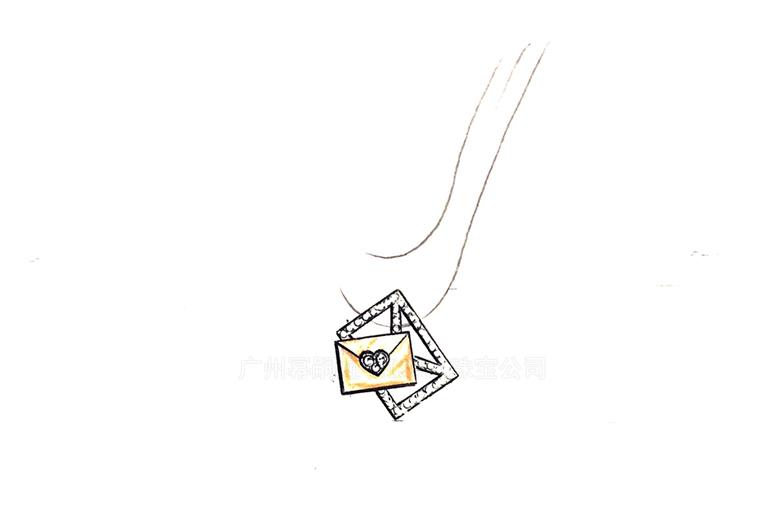 MISSG珠宝原创设计手绘稿作品情人节系列情书耳环S925银饰品加工定制首饰厂 项链 戒指 手镯 手链 吊坠 胸针 工艺礼品