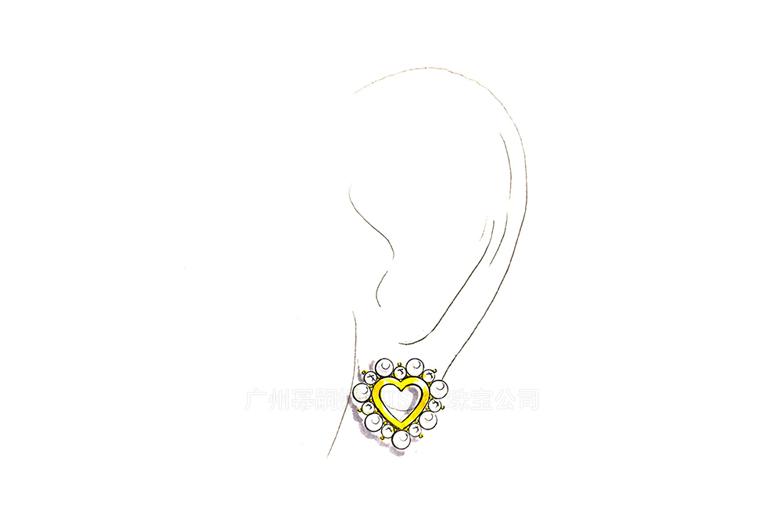 MISSG珠宝原创设计手绘稿作品花园系列珍珠爱心耳环S925银饰品加工定制首饰厂 项链 戒指 手镯 手链 吊坠 胸针 工艺礼品