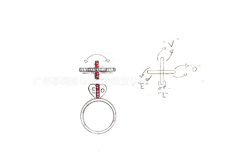MISSG珠宝原创设计手绘稿作品花园系列爱心刻字耳环S925银饰品加工定制首饰厂 项链 戒指 手镯 手链 吊坠 胸针 工艺礼品