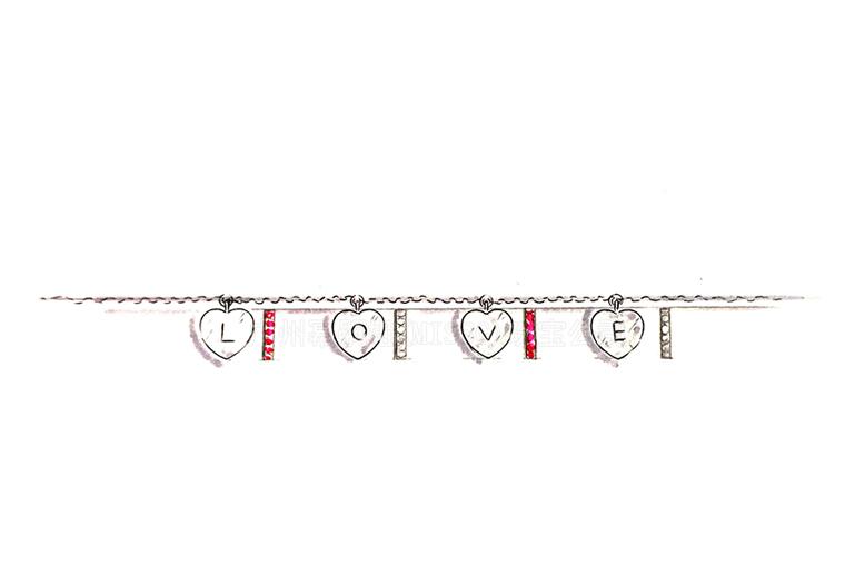 MISSG珠宝原创设计手绘稿作品花园系列爱心LOVE手链S925银饰品加工定制首饰厂 耳环 戒指 手镯 项链吊坠 胸针 工艺礼品