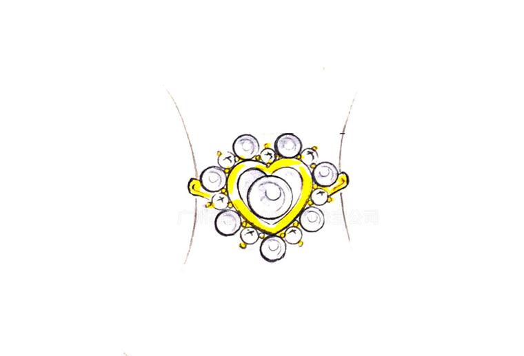 MISSG珠宝原创设计手绘稿作品花园系列爱心珍珠戒指手镯S925银饰品加工定制首饰厂 耳环 项链 手链 吊坠 胸针 工艺礼品