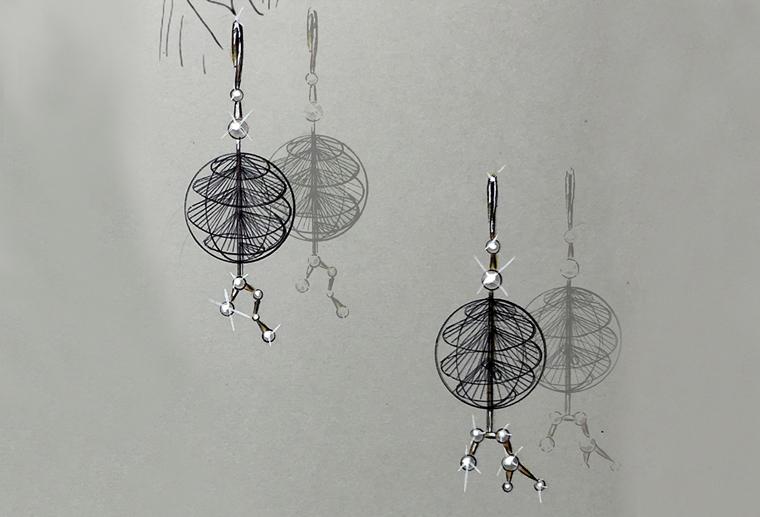 原创设计师邓家锐作品CYCLE耳环925银耳环素描手绘图饰品加工定制