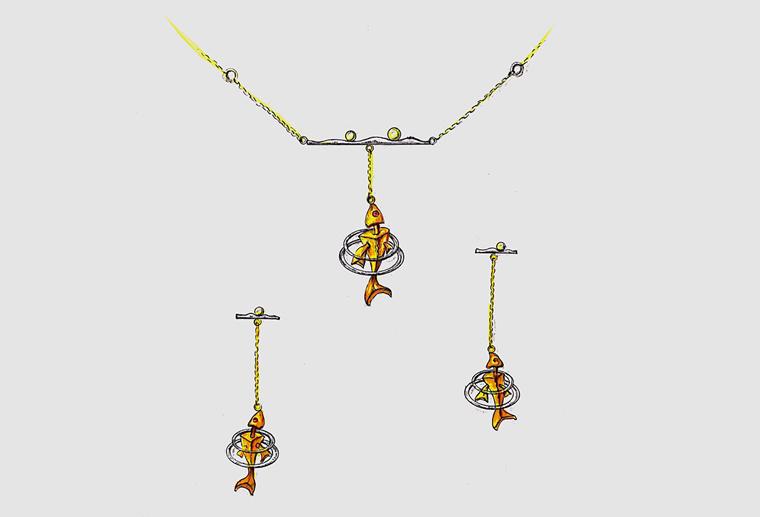 原创珠宝设计师陈典泽鱼跃龙门18k金925纯银首饰项链耳环套装定制