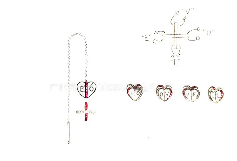 MISSG珠宝原创设计手绘稿作品花园系列爱心耳线耳环S925银饰品加工定制首饰厂 项链 戒指 手镯 手链 吊坠 胸针 工艺礼品
